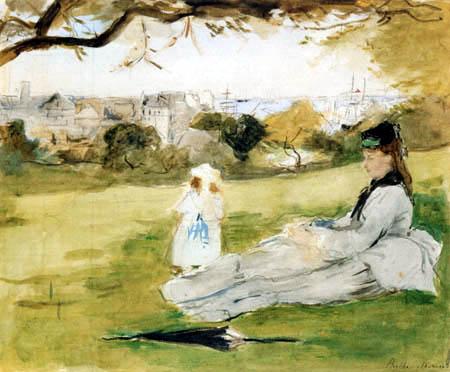 mujer e hija en el parque. morisot