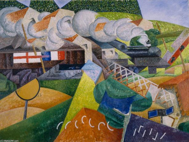 Gino-Severini-Red-Cross-Train-Passing-a-Village