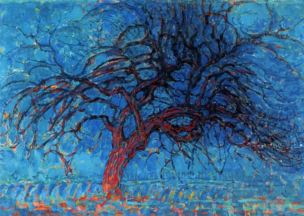mondrian avond-evening-the-red-tree-1910