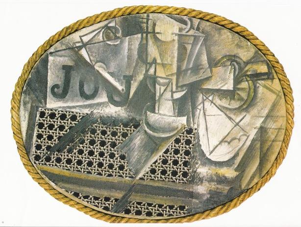 Picasso naturaleza muerta con silla de rejilla